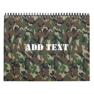 Woodland Camouflage Military Background Calendar