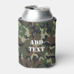 Woodland Camouflage Military Background Can Cooler