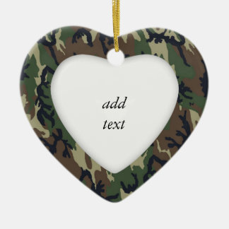 Woodland Camouflage Military Background Double-Sided Heart Ceramic Christmas Ornament