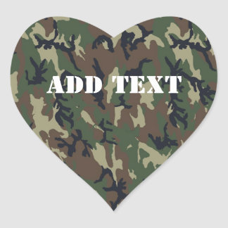 Woodland Camouflage Military Background Heart Sticker