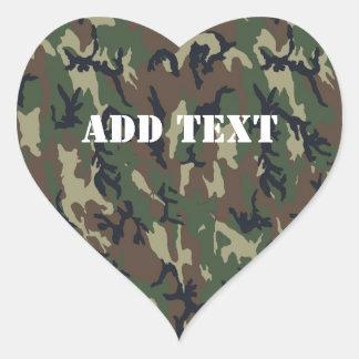 Woodland Camouflage Military Background Heart Sticker