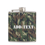 Woodland Camouflage Military Background Hip Flask