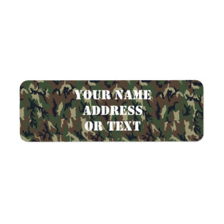 Woodland Camouflage Military Background Return Address Labels