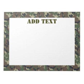 Woodland Camouflage Military Background Notepad