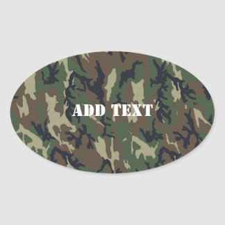 Woodland Camouflage Military Background Oval Sticker