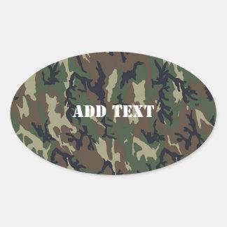 Woodland Camouflage Military Background Oval Sticker