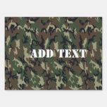 Woodland Camouflage Military Background Sign