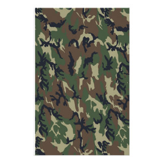 Woodland Camouflage Military Background Stationery Paper