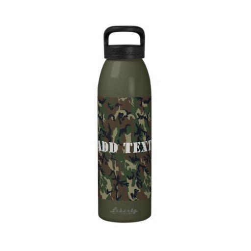 Woodland Camouflage Military Background Water Bottles