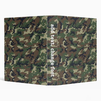 Woodland Camouflage Military Pattern 3 Ring Binder