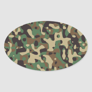 Woodland Camouflage Oval Sticker