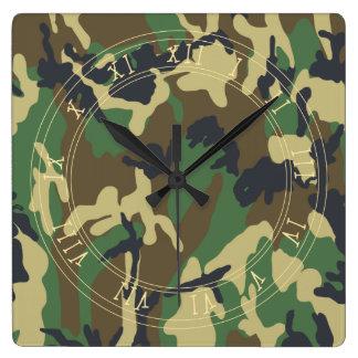 Woodland Camouflage pattern Square Wallclock