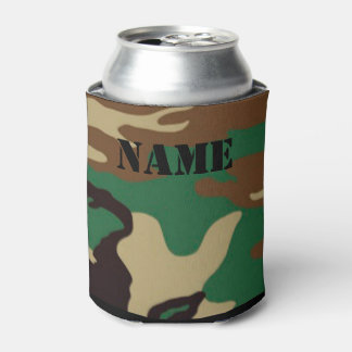 Woodland Camouflage ~ Personalized Name / Initials Can Cooler