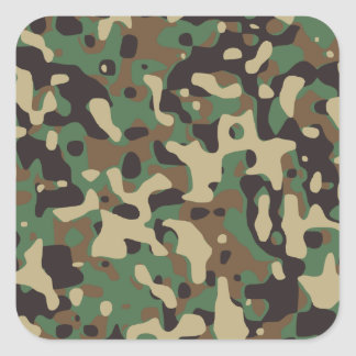 Woodland Camouflage Square Sticker