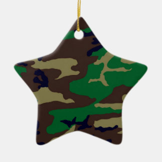 Woodland Camouflage Star Ceramic Ornament