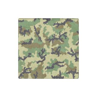 Woodland camouflage stone magnet