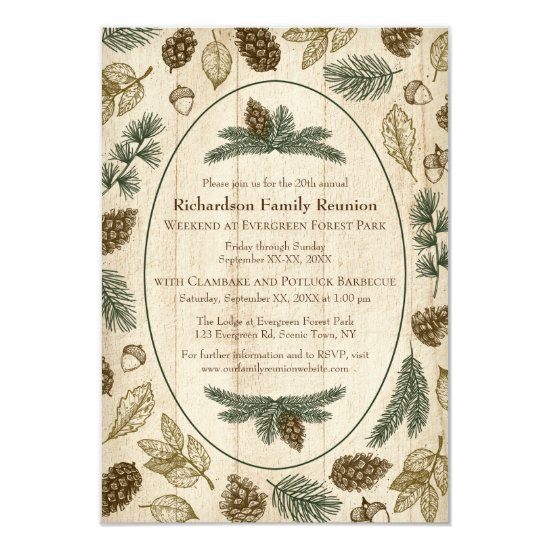 Woodland Camping Family Reunion Jamboree BBQ Invitation