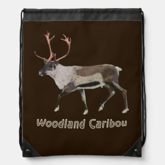 Woodland Caribou Drawstring Backpacks