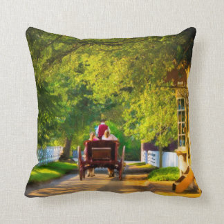Woodland Carriage Ride in Colonial Williamsburg Throw Pillow