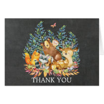 Woodland Chalkboard Baby Shower Thank You Note Card