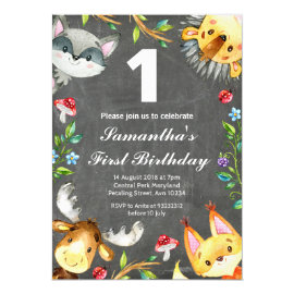 Woodland Chalkboard Birthday Invitation