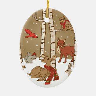 Woodland Christmas Ceramic Ornament