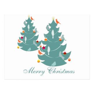 Woodland Christmas Cutest Bird on Holiday Tree Postcard