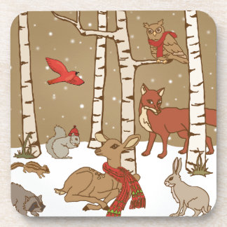 Woodland Christmas Drink Coaster