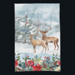 """Woodland Christmas Kitchen Towel<br><div class=""""desc"""">A peaceful winter scene with two deer.</div>"""