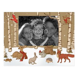 Woodland Christmas Photo Postcard