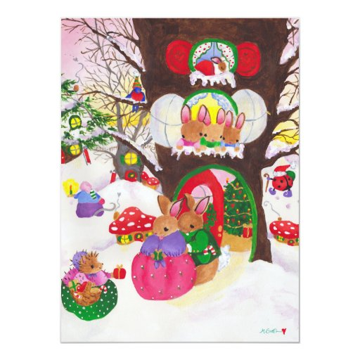 """Woodland Christmas picture card 5.5"""" X 7.5"""" Invitation Card"""