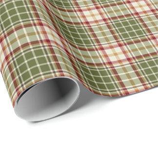 Woodland Christmas Plaid Pattern Wrapping Paper