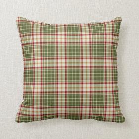 Woodland Christmas Plaid Throw Pillow