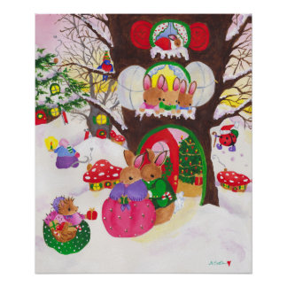 Woodland Christmas poster