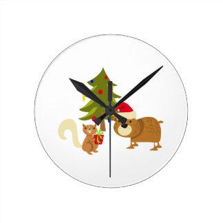 Woodland Christmas Round Clock