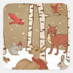 Woodland Christmas Square Sticker