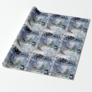 Woodland Christmas with Wolves Wrapping Paper