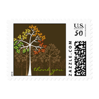 Woodland Color Autumn Fall Trees Thank You Stamps