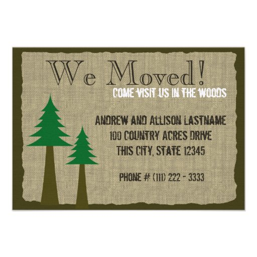 Woodland Country New Home Personalized Invite