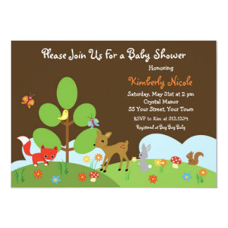 "Woodland Creature Baby Shower Invitation 5"" X 7"" Invitation Card"