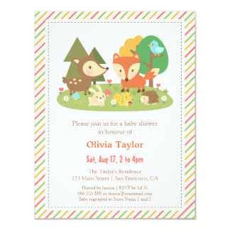 Woodland Creatures Animal Baby Shower Card