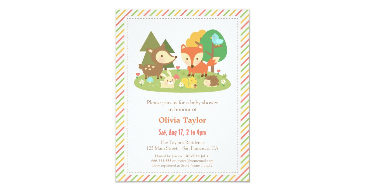 woodland creatures animal baby shower card zazzle