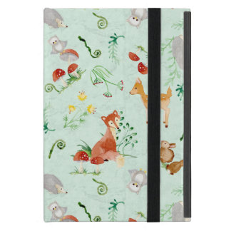 Woodland Creatures Animals Deer Fox Rabbit Owl Art iPad Mini Cover