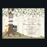 """Woodland Creatures Baby Shower - Boy Card<br><div class=""""desc"""">A baby shower invitation featuring an illustration of a fox,  an owl,  and a raccoon standing around a tree wrapped in banner that says,  &quot;It&#39;s A Boy!&quot;  Tree features exposed roots,  green leaves,  and mushrooms.  Blue and white bunting above customizable text.</div>"""