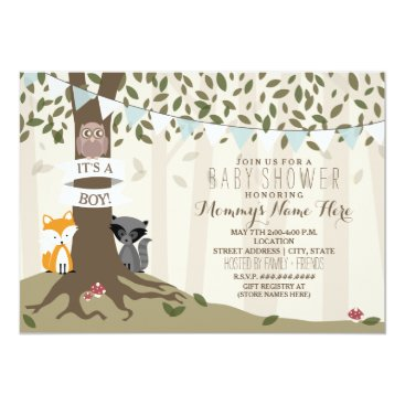 Toddler & Baby themed Woodland Creatures Baby Shower - Boy Card