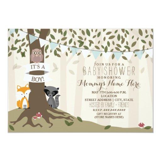 Woodland Creatures Baby Shower - Boy Card