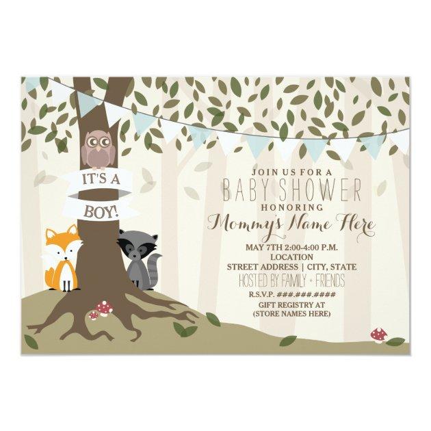 woodland creatures baby shower - boy invitation, Baby shower invitations