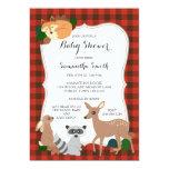 Woodland Creatures Baby Shower Buffalo Plaid Card