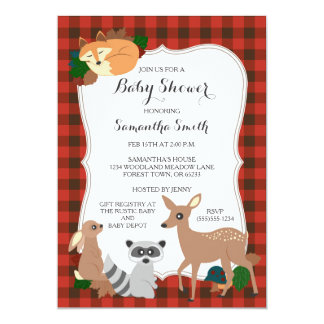 Woodland Creatures Baby Shower Buffalo Plaid Card