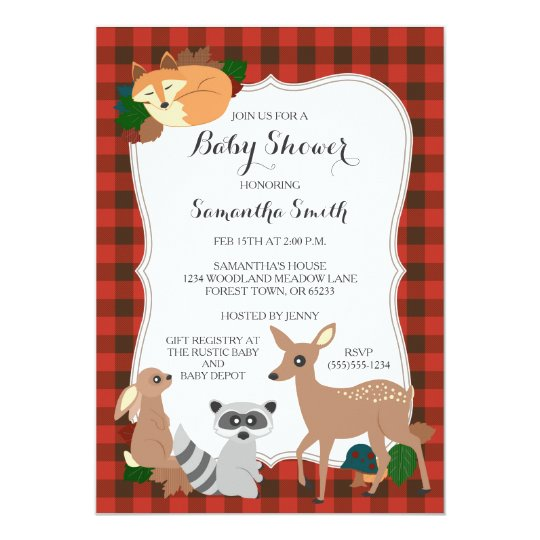woodland creatures baby shower buffalo plaid card | zazzle, Baby shower invitations
